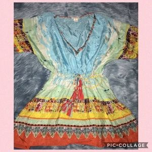 Sundance Colorful Silk Blouse